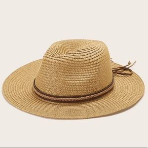 Straw Fedora Wide Brim Leather Accent Boho Hat